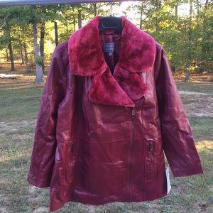 Jessica London removable Fur Leather Jacket 81